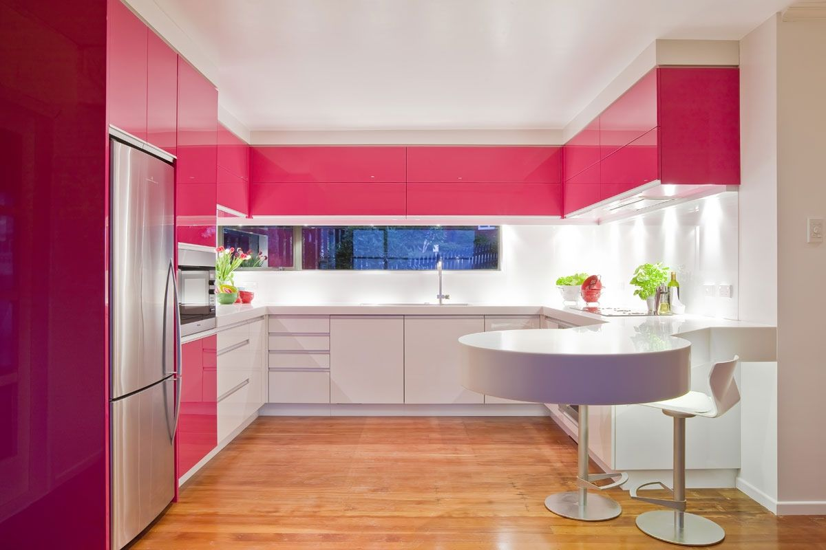 Cool U Shaped Kitchen Layout Design Ideas Stunning Futuristic Pink White With Modern Furniture And Wooden Fl