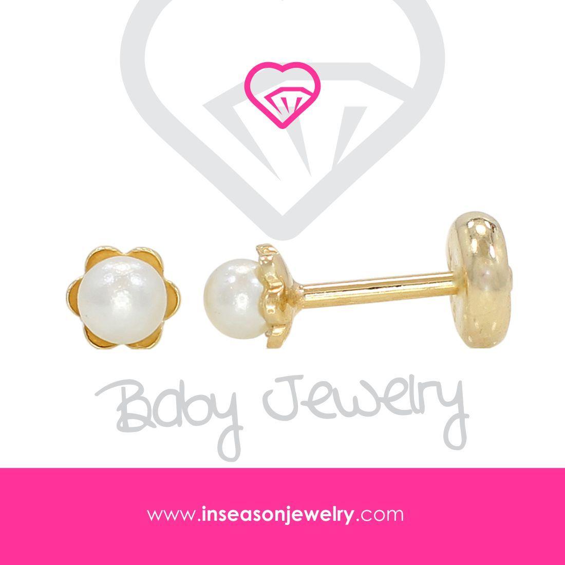 TINY GOLD FILLED 18K WHITE PEARL GIRL NEWBORN BABY EARRINGS POST ...