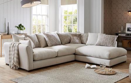 Amalfi Right Hand Standard Back Fabric Corner Chaise Sofa White Corner Sofas Corner Sofa And Chair Corner Sofa Fabric