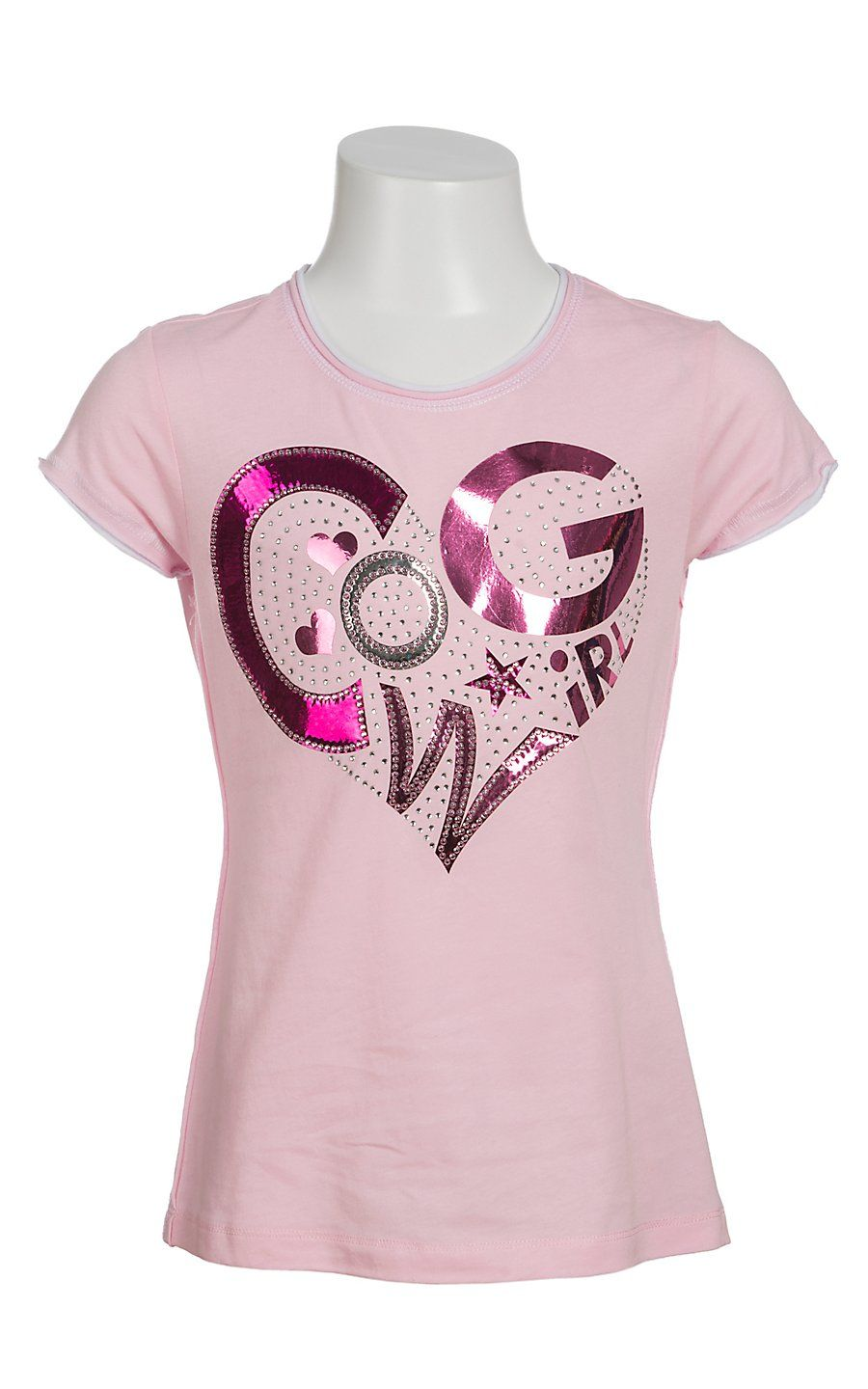7f7073e8f3c Cowgirl Hardware Girl s Light Pink with Pink   Silver Foil Cowgirl Heart Short  Sleeve Tee