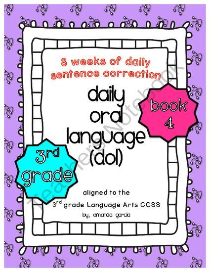 Daily Oral Language DOL Book 4 Aligned To 3rd Grade CCSS