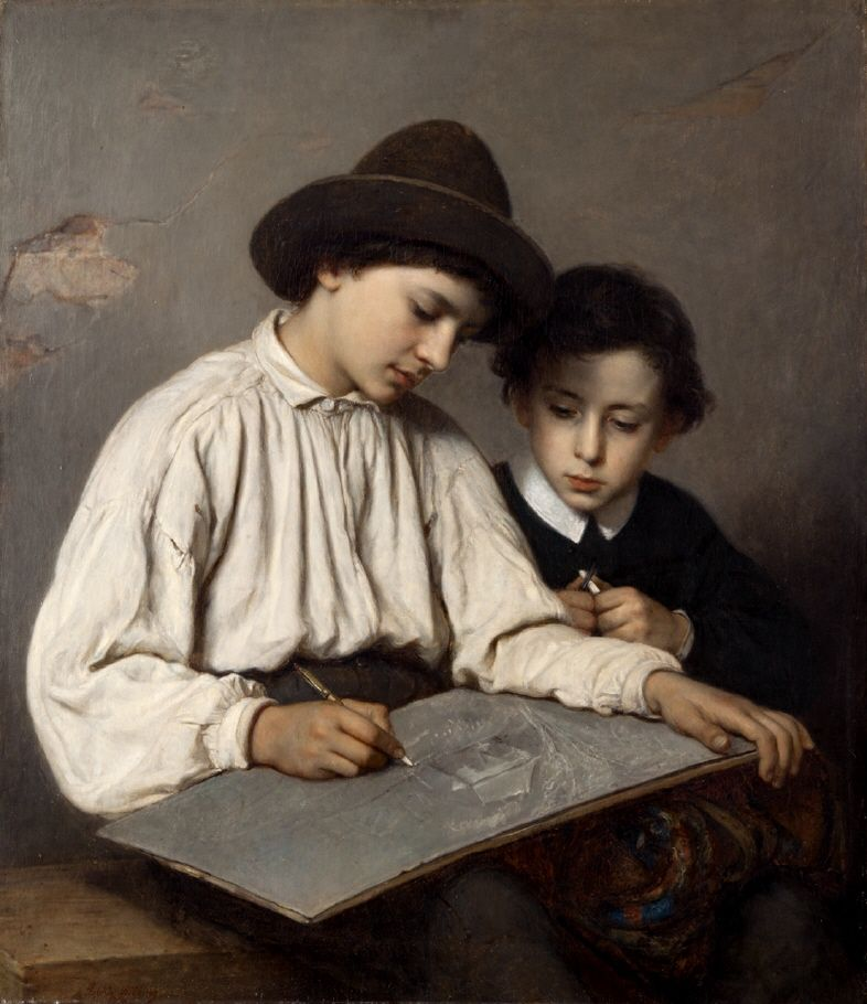"""Sofie Ribbing: """"Boys Drawing"""", 1866, oil on canvas, Dimensions: 91.5 × 79 cm (36 × 31.1 in), Current location: Gothenburg Museum of Art ."""
