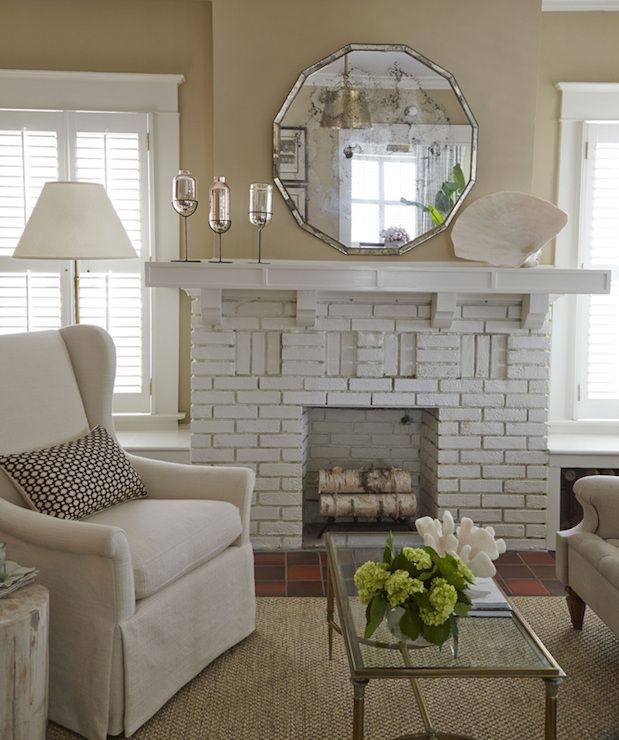 White Brick Fireplace Cottage Living Room Nikie Barfield White Brick Fireplace Living Room White Cottage Living Rooms