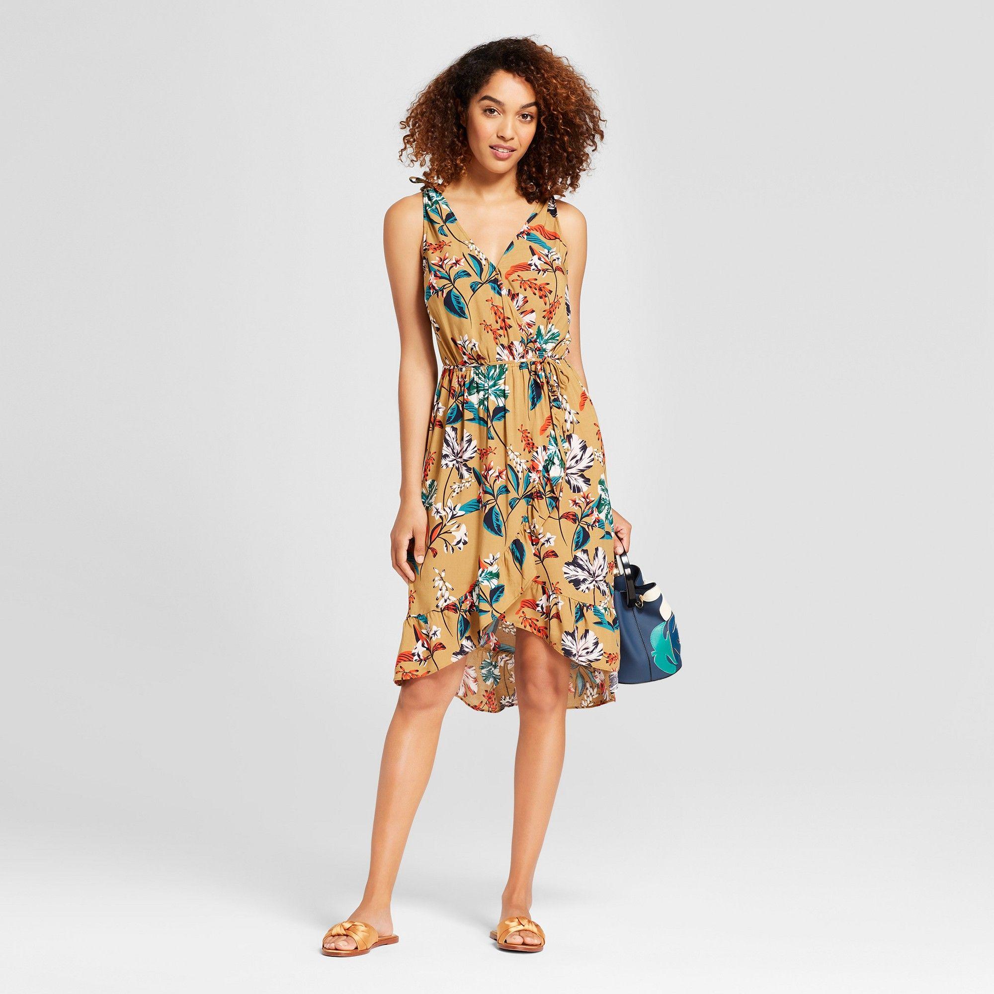 f6ad4f47dc2f98 Women's Floral Print Sleeveless Wrap Dress - A New Day Tan Xxl, Yellow