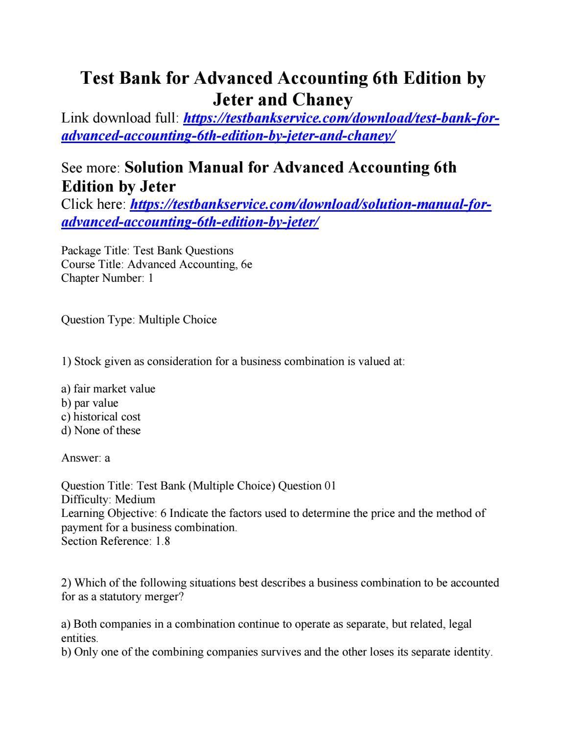 Jeter Advanced Accounting Solution Manual 01 Pontiac Sunfire Fuse Box Mack Air Ke Wiring Diagram