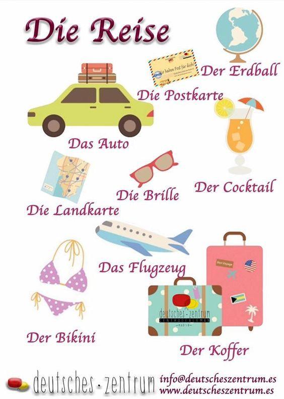 die reise, das auto, der erdball, deutsch lernen ...