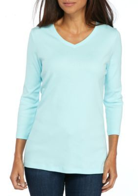 Kim Rogers Women's V-Neck Rib Knit Tee - Aqua Scoop - Xxl