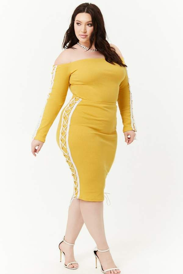 Forever 21 Plus Size Lace-Up Sides Top  Midi Skirt Set -1291