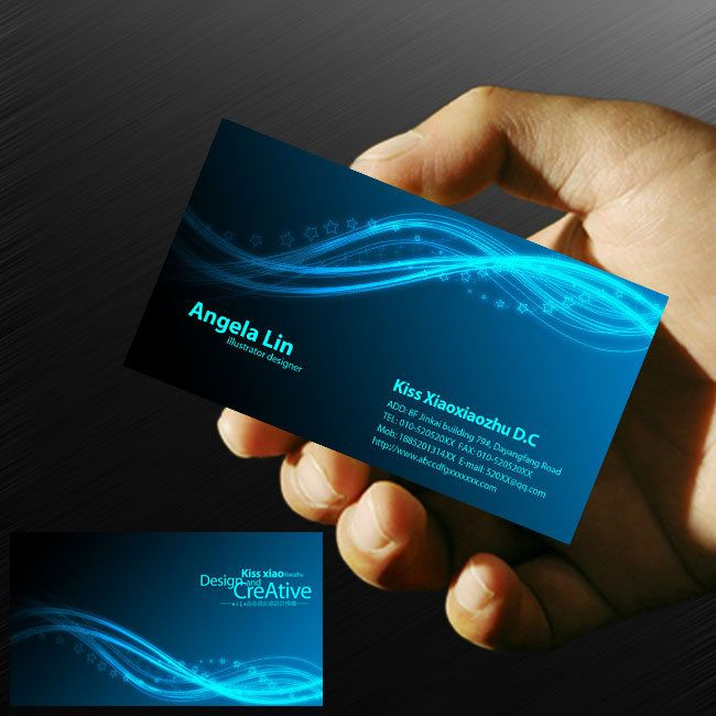 Blue Computer Network Information Technology Business Card PSD - Networking business card template