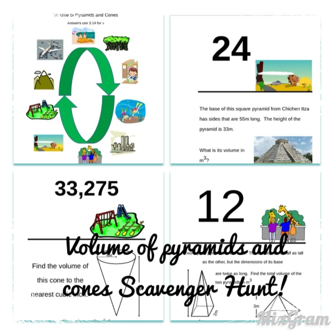 Volume Of Pyramids And Cones Scavenger Hunt For Your