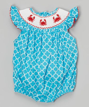 8e36e66a2 Love this Teal & Red Quatrefoil Crab Bubble Romper - Infant & Toddler on # zulily! #zulilyfinds