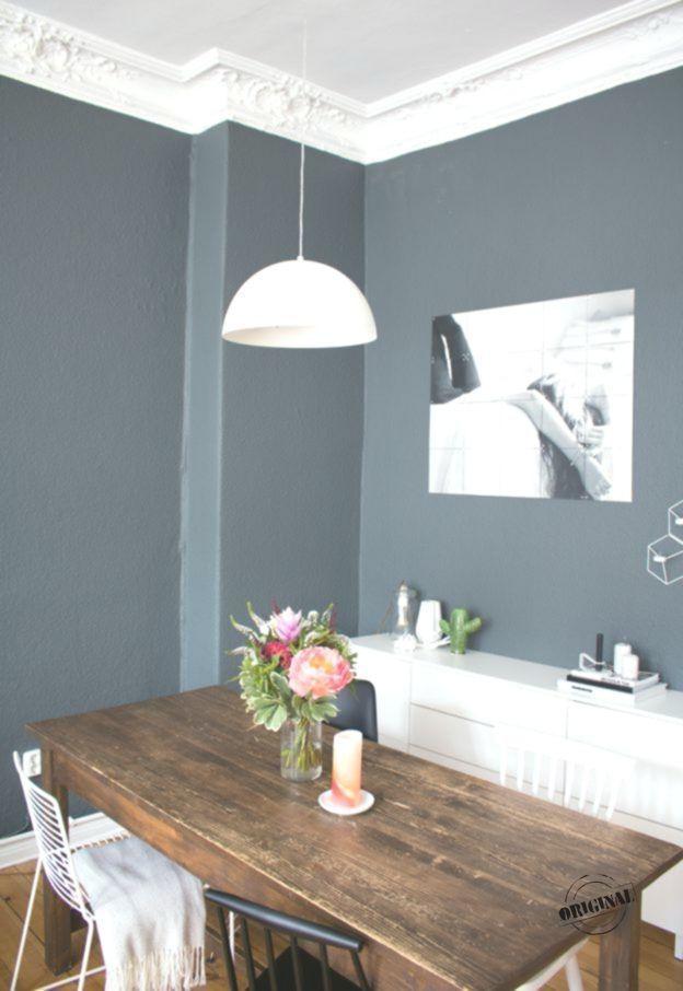 Esszimmer Inspiration Vintage Style Tisch Dunkle Wand Farbe 2