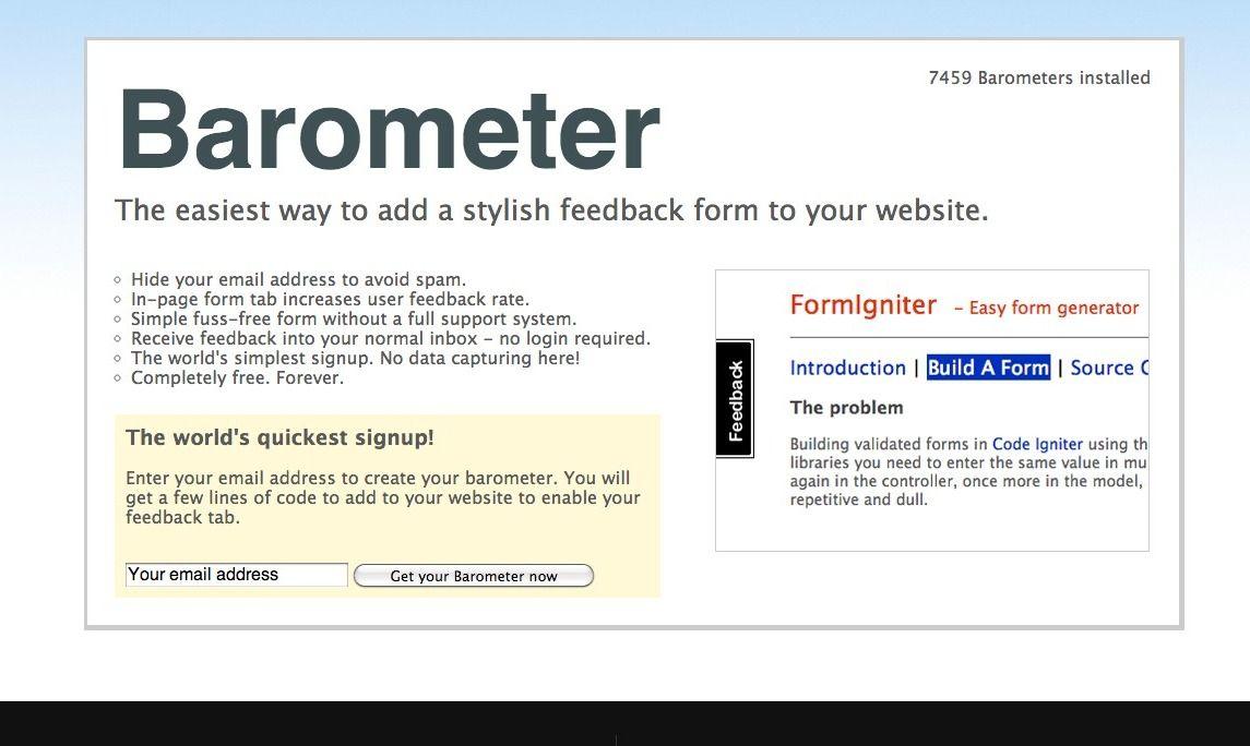 Barometer - feedback tabs for all Web Design Pinterest - free feedback form