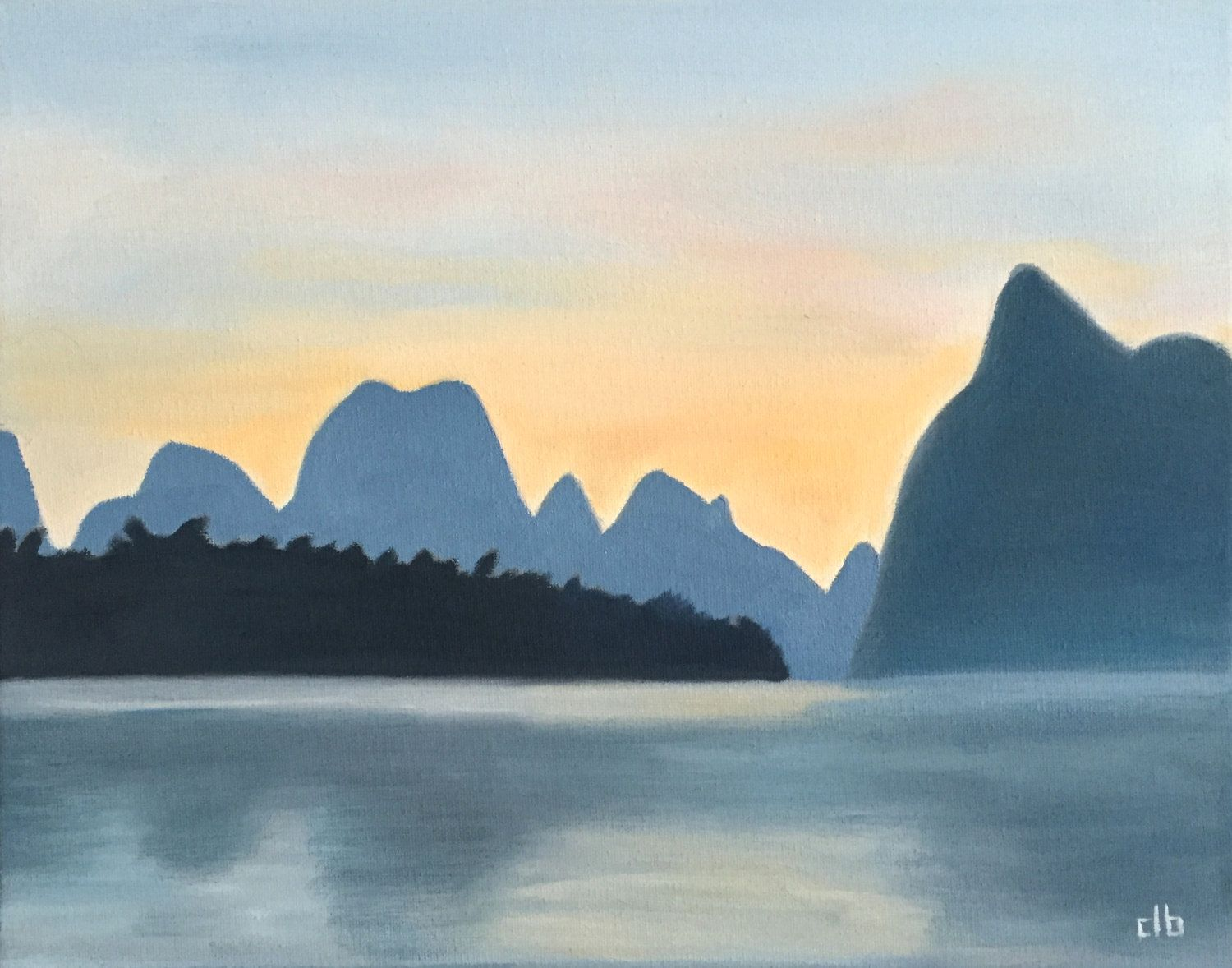 China Painting, 14 x 11, Oil Painting, Original Art, Guilin Landscape Painting, Sunset painting, Li River Painting, Chinese Painting by CFineArtStudio on Etsy