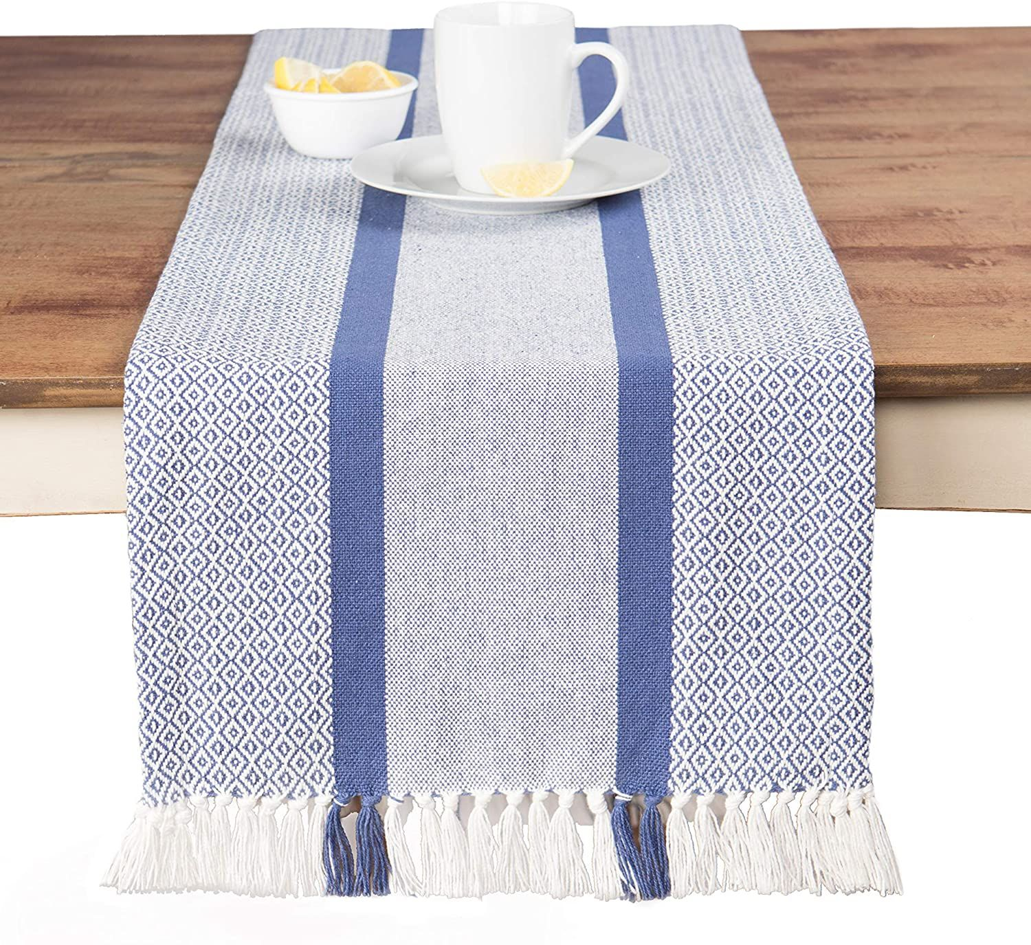 Photo of Sticky Toffee Cotton Woven Table Runner with Fringe, Traditional Diamond, 14 x 72 – Blue Traditional Diamond