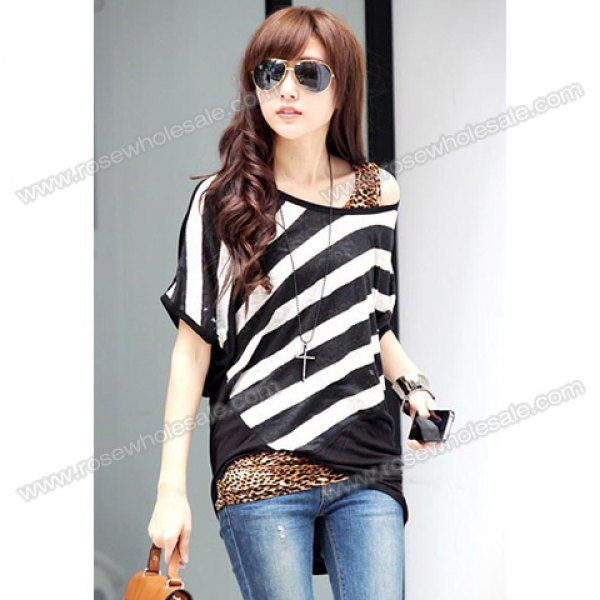 52db581bd18 Wholesale Scoop Neck Sloping Stripe Print Batwing Sleeve Summer Blouse For  Women (BLACK