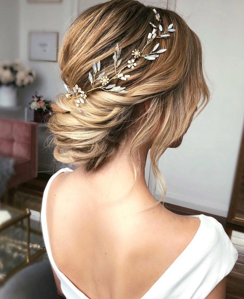Opal Bridal Headband Gold Floral Hair Accessories Wedding Hair Piece Wedding Bridal Set Gold Hair Vine In 2020 Medium Length Hair Styles Wedding Hairstyles Thin Hair Wedding Hairstyles For Long Hair