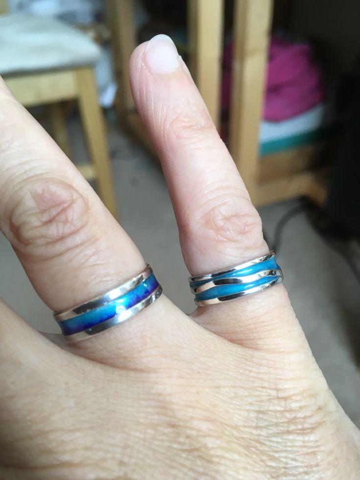 Blue enamelled wavy ring – Alison Swindles Jewellery Design