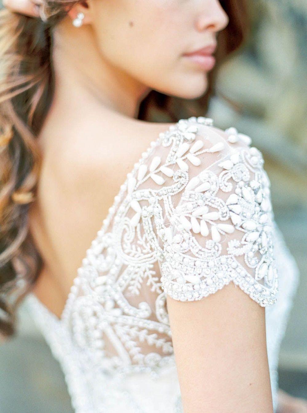 Best Alternative Wedding Dresses to Swoon Over Stunning wedding dresses with amazing details, lace wedding dress,long sleeves wedding dress,deep plunging neckline wedding dress,heavy embellishment wedding dress #weddingdress #weddinggown