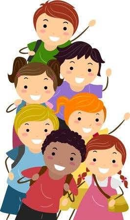 Illustrazione Con Bambini Felici Ed Energetico In Via Di Scuola Bambini Della Scuola Scuola Bambini