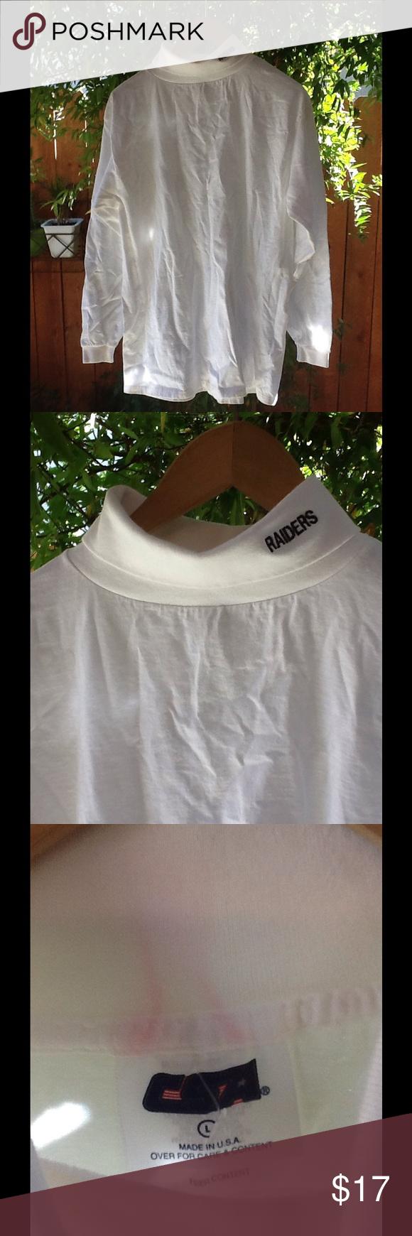 a757e62d Vintage Raiders 90's NFL Turtleneck Shirt Large 100% cotton, long sleeve Raiders  turtleneck. Light discoloration inside neckline. Vintage Shirts Tees - Long  ...
