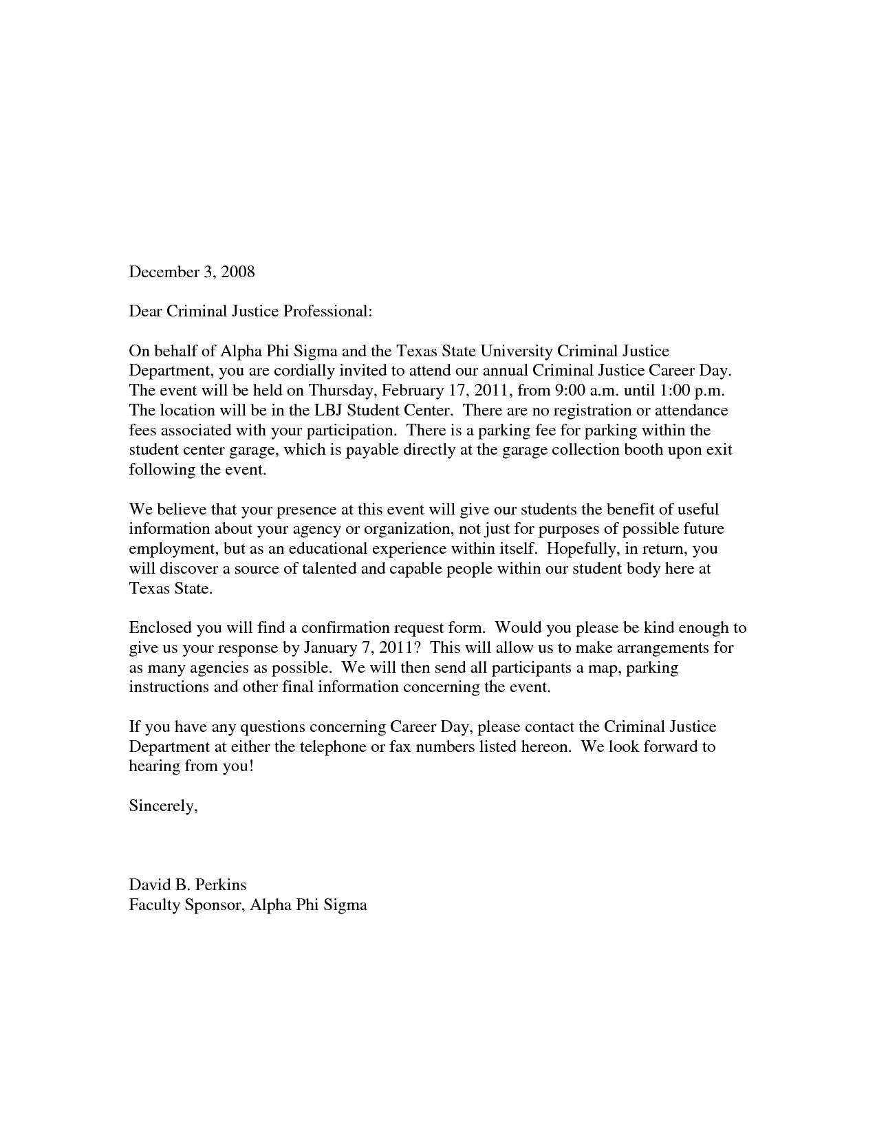 Sample Career Day Invitation Letter School Yolanda Blogformal Template Business
