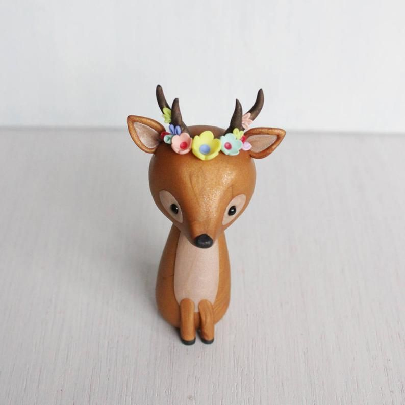 Deer clay figurine - boho style deer sculpture - deer woodland cake topper - boho antlers - deer polymer clay ornament by Heartmade Cottage -   13 cake Art polymer clay ideas