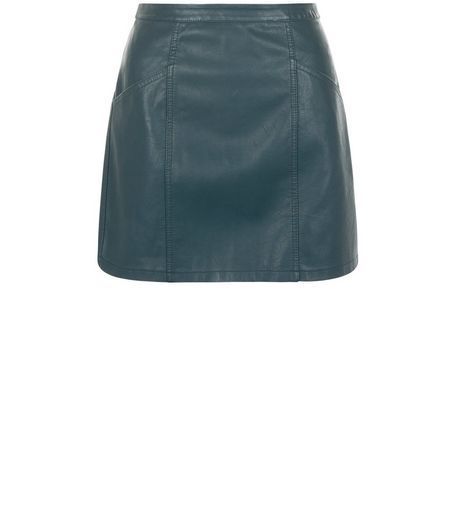 Petite Dark Green Leather-Look Skirt | New Look | Outfit ...