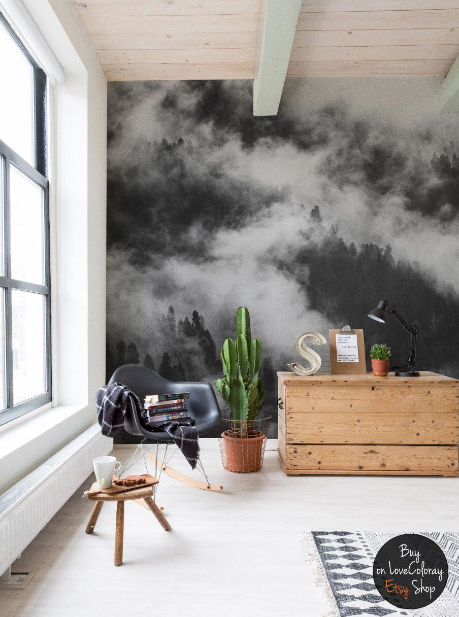 Foggy forest wallpaper, Tree wall mural, Peel and Stick