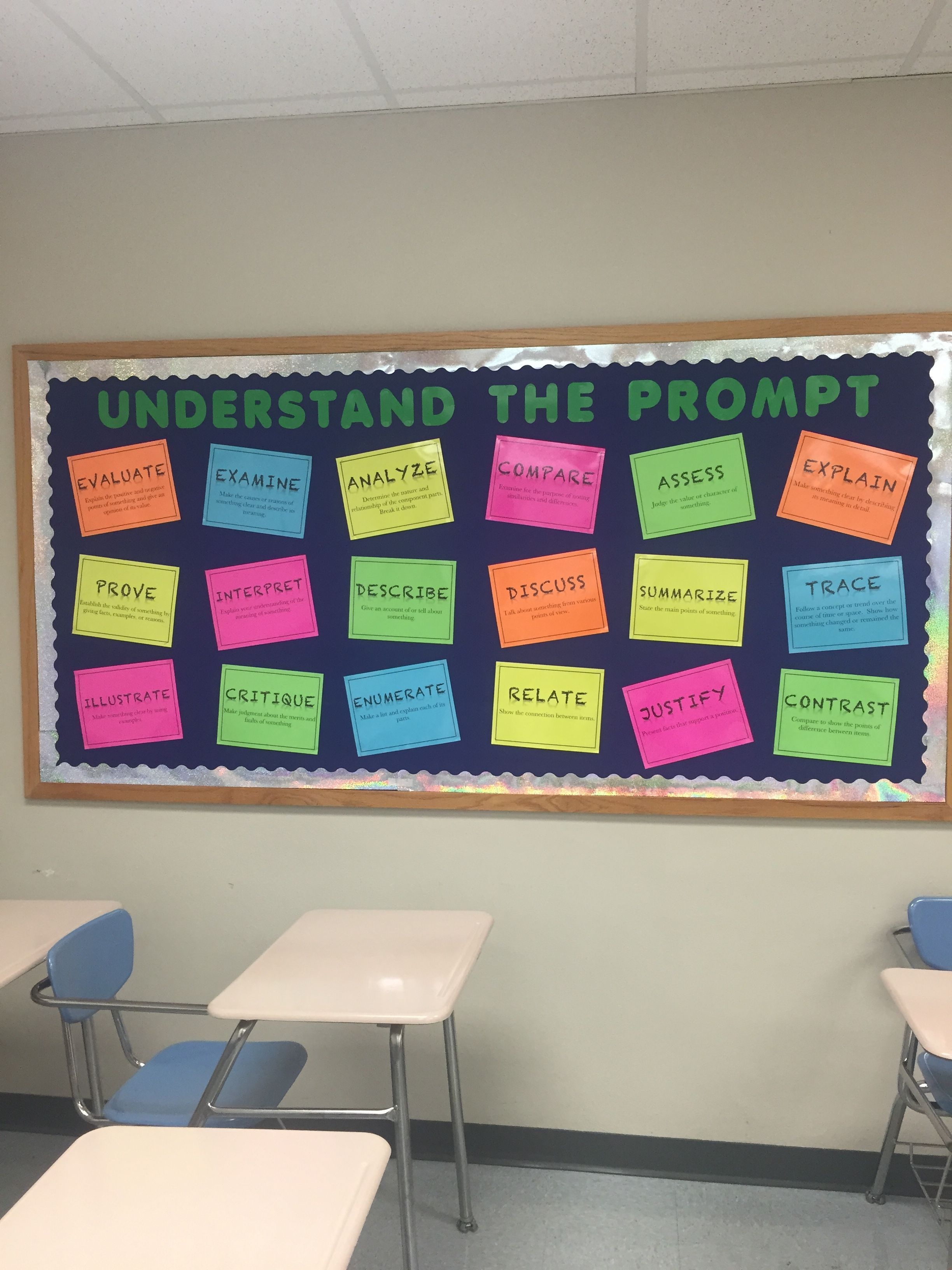 Understand Testing Prompts Bulletin Board Classroom Highschool