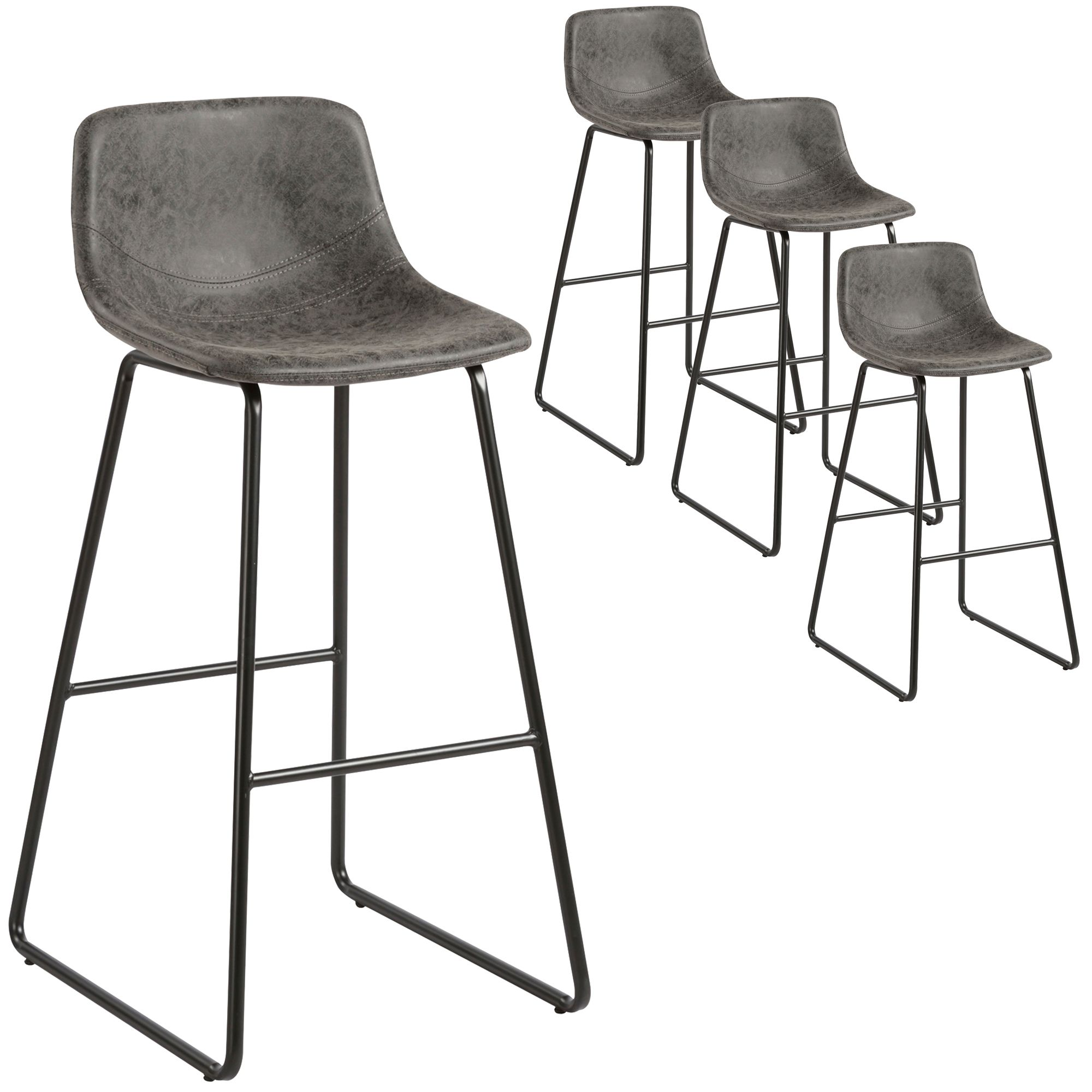 Grey Bailey Faux Leather Barstools Temple Webster Bar Stools Bar Stools Australia Stool
