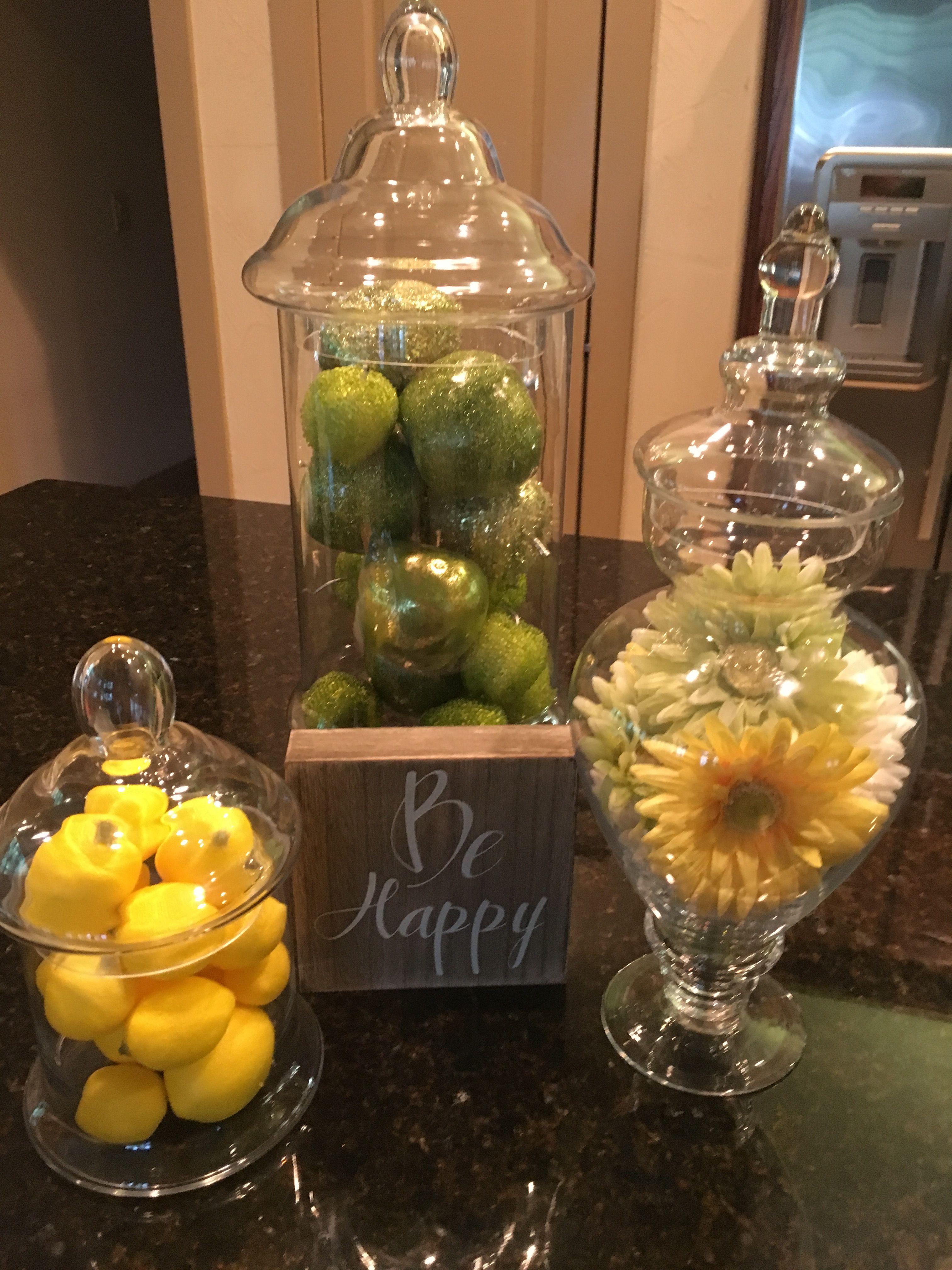 Glass Vase W Fake Lemons Apothecary Jars Decor Apothecary Jars