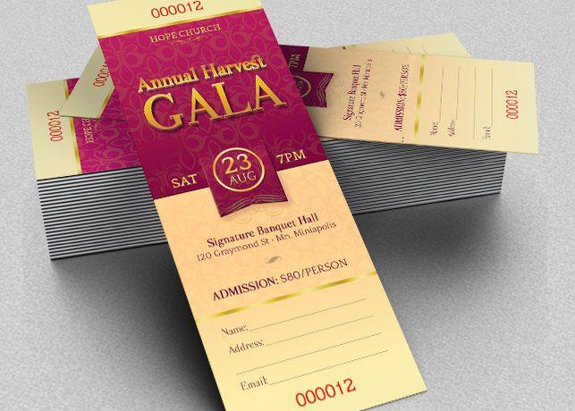 Harvest Gala Ticket Template - $600 Harvest Gala Ticket Template - event tickets template