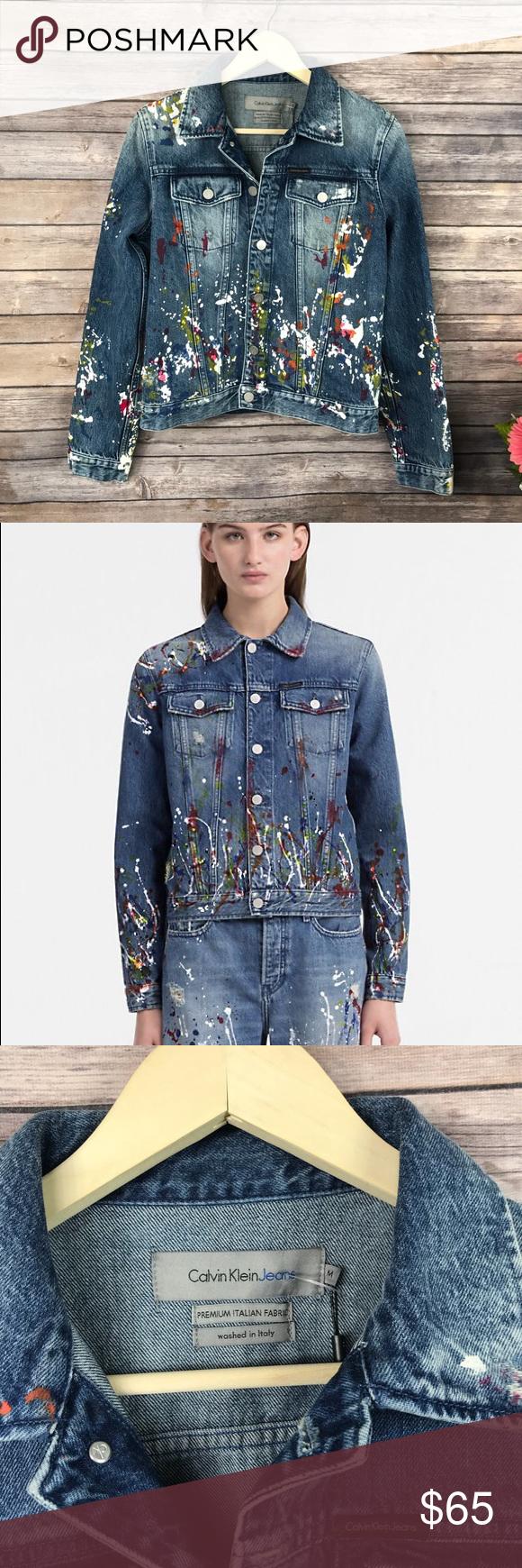 Calvin Klein Paint Splatter Jean Jacket Nwt Clothes Design Jackets Calvin Klein [ 1740 x 580 Pixel ]