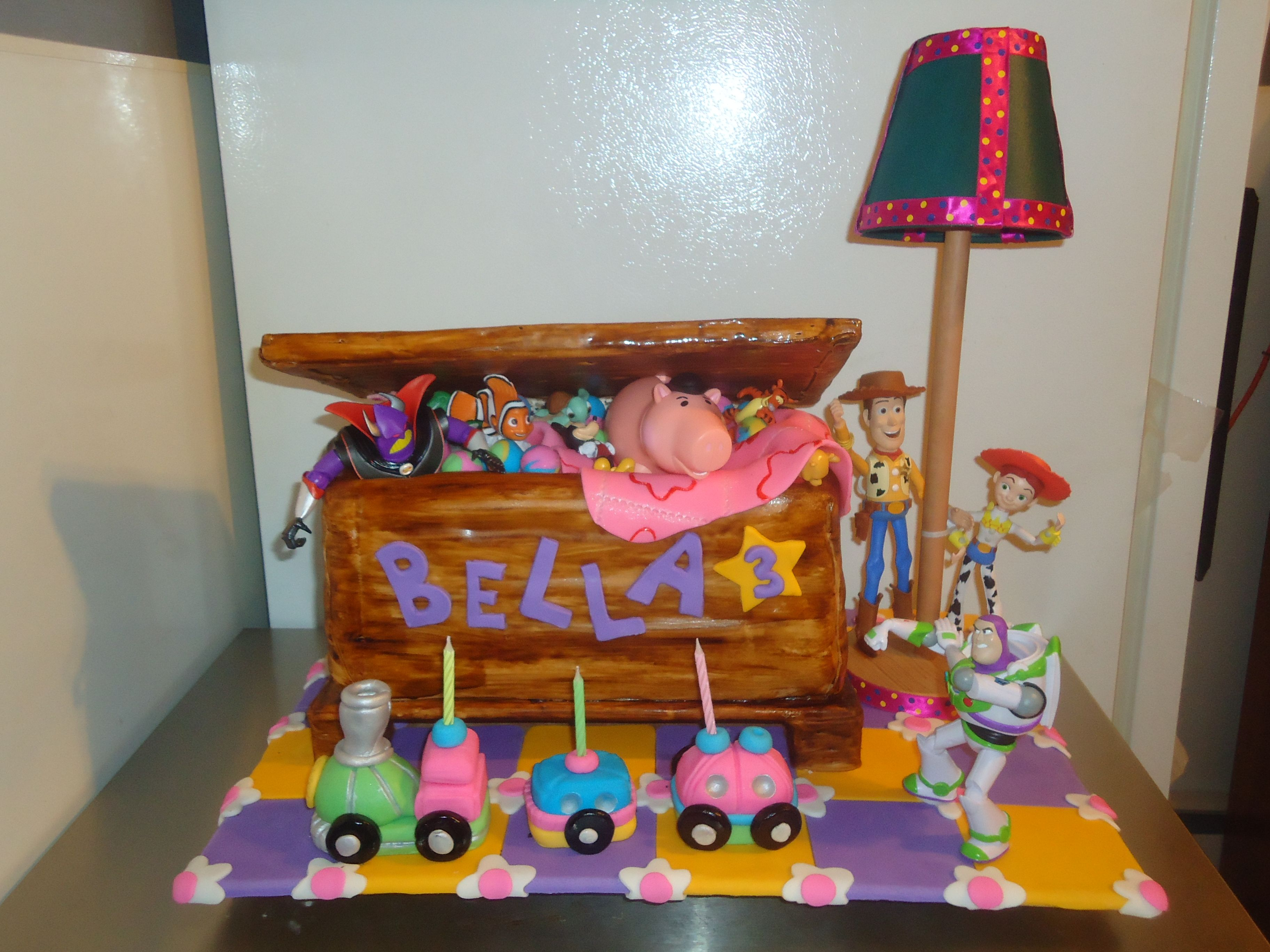 Toy Story Cake The Toy Box Is Cake The Train Lit Up As Well As The Lamp Toy Story Cakes Train Light Cake Designs