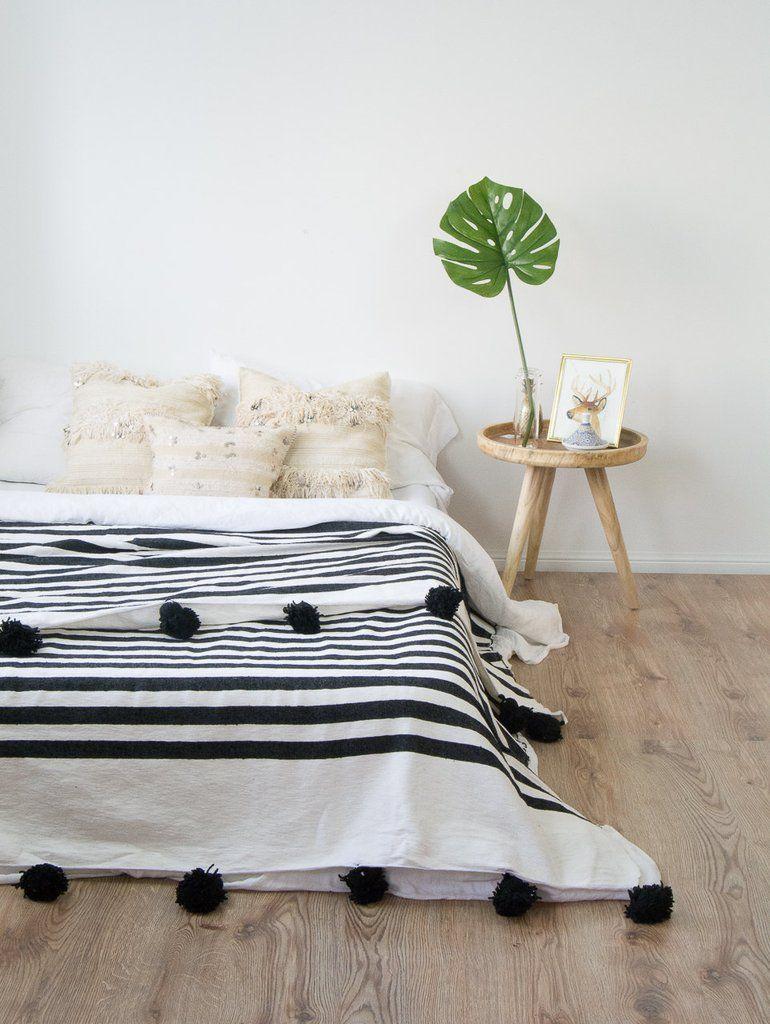Moroccan Pom Pom Blanket White And Black Moroccan Pom Pom