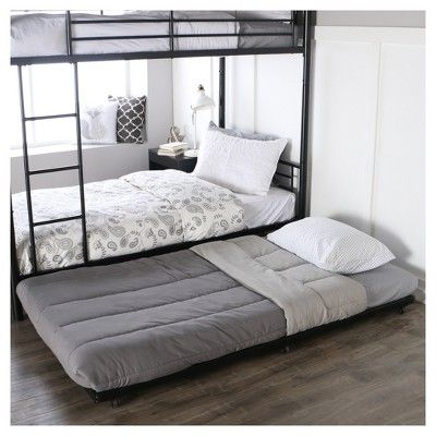 Twin Roll Out Trundle Bed Frame Black Walker Edison