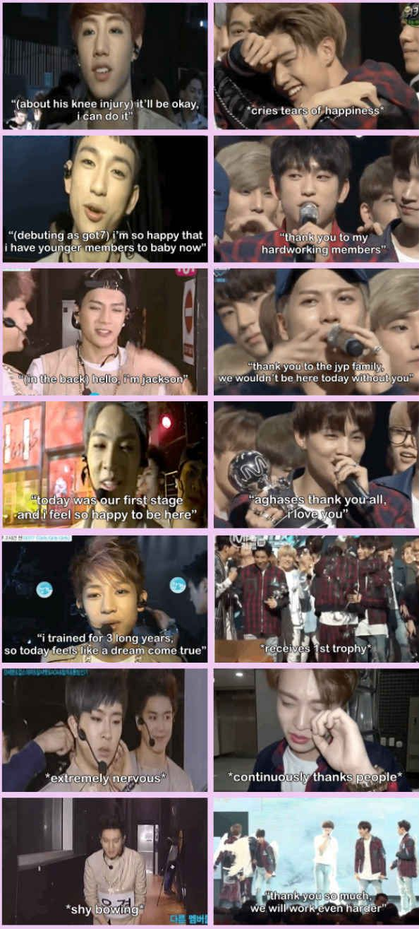 And finally, if you've made it this far without fangirling…Let's take a look at GOT7 after their M Countdown debut performance in 2014, vs. their first win on the show in 2016.