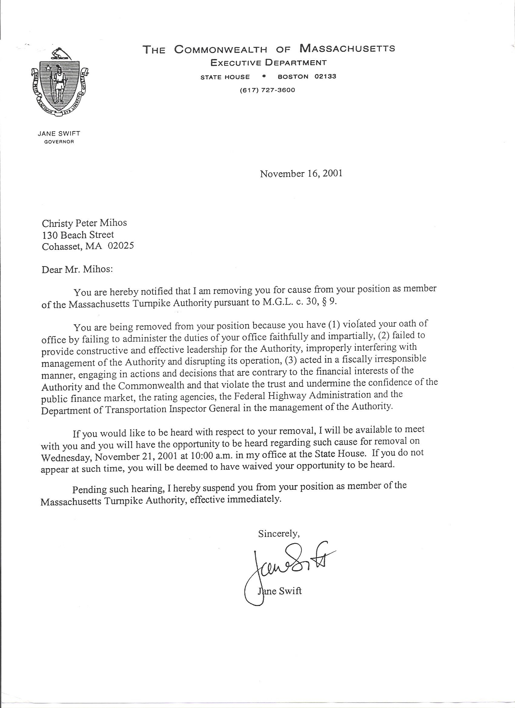 Official Letter Of Removal From Jane Swift Rotten To The Coreofficial Letter  Business Letter Sample