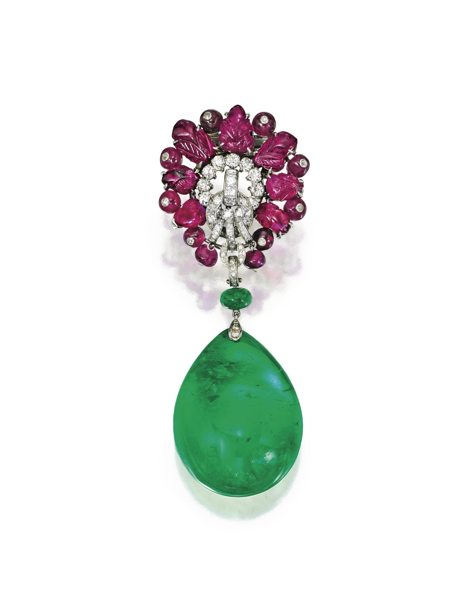 pin necklace bracelet parure comprising cartier combination and demi a emerald gold