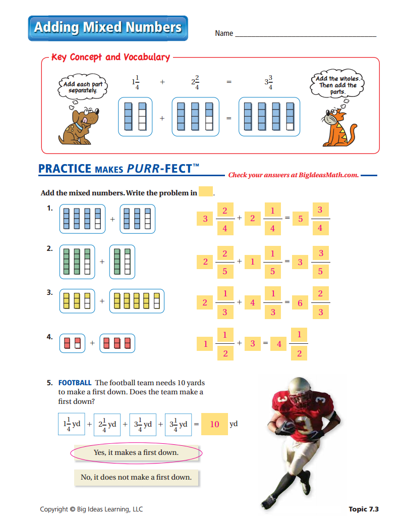 Adding Mixed Numbers Worksheet ANSWERS Number