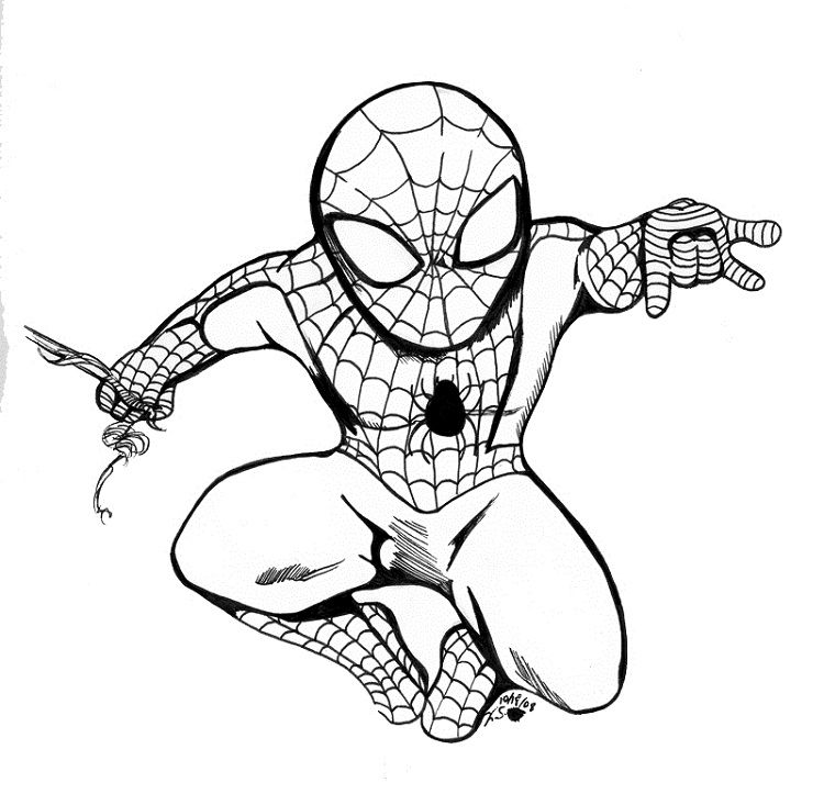 Spiderman Coloring Pages Cute Tegning
