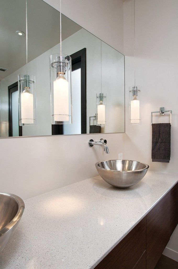 Cool Bathroom Vanity Modern Pendant Lighting Design With Wall Mirror And  Chrome Faucet