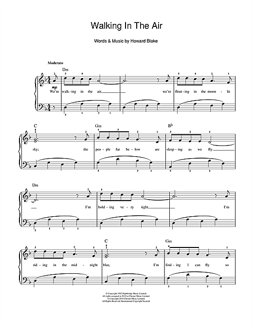 walking in the air (theme from the snowman) sheet music   howard blake    easy piano   sheet music, easy piano sheet music, sheet music pdf  pinterest