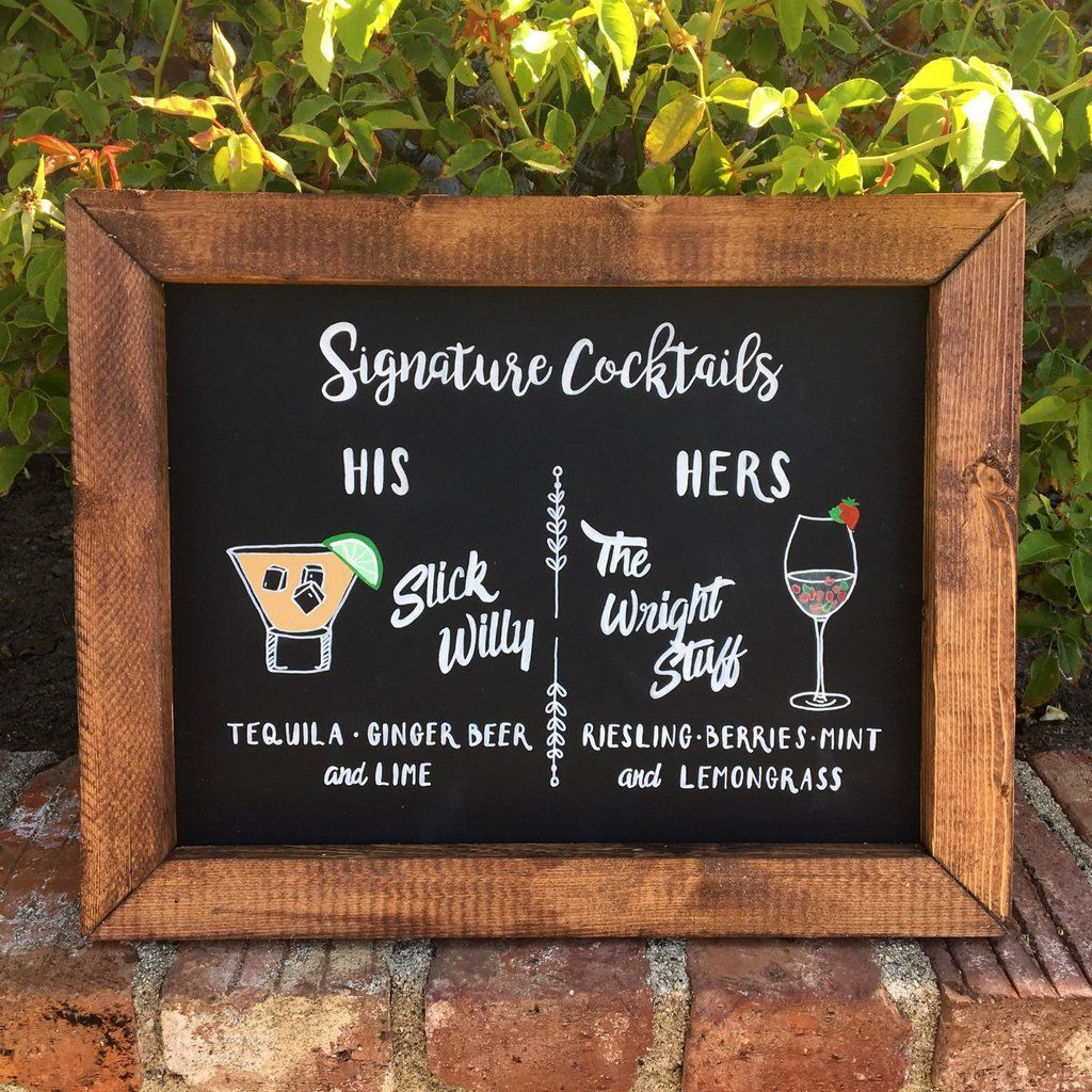 Signature Drinks Rustic Wedding Framed Chalkboard Sign
