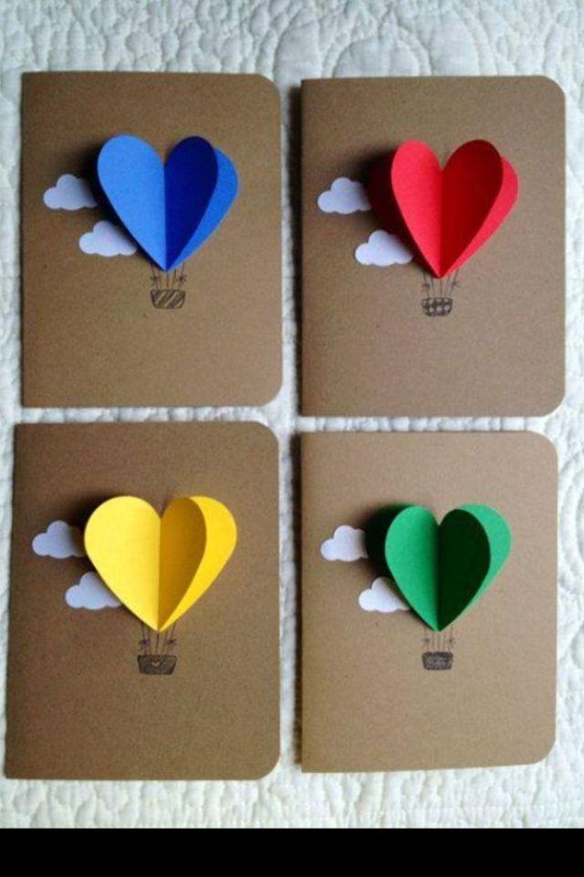 Heart Shapes Hot Air Balloon Homemade Birthday Cards Cards Handmade Birthday Cards Diy