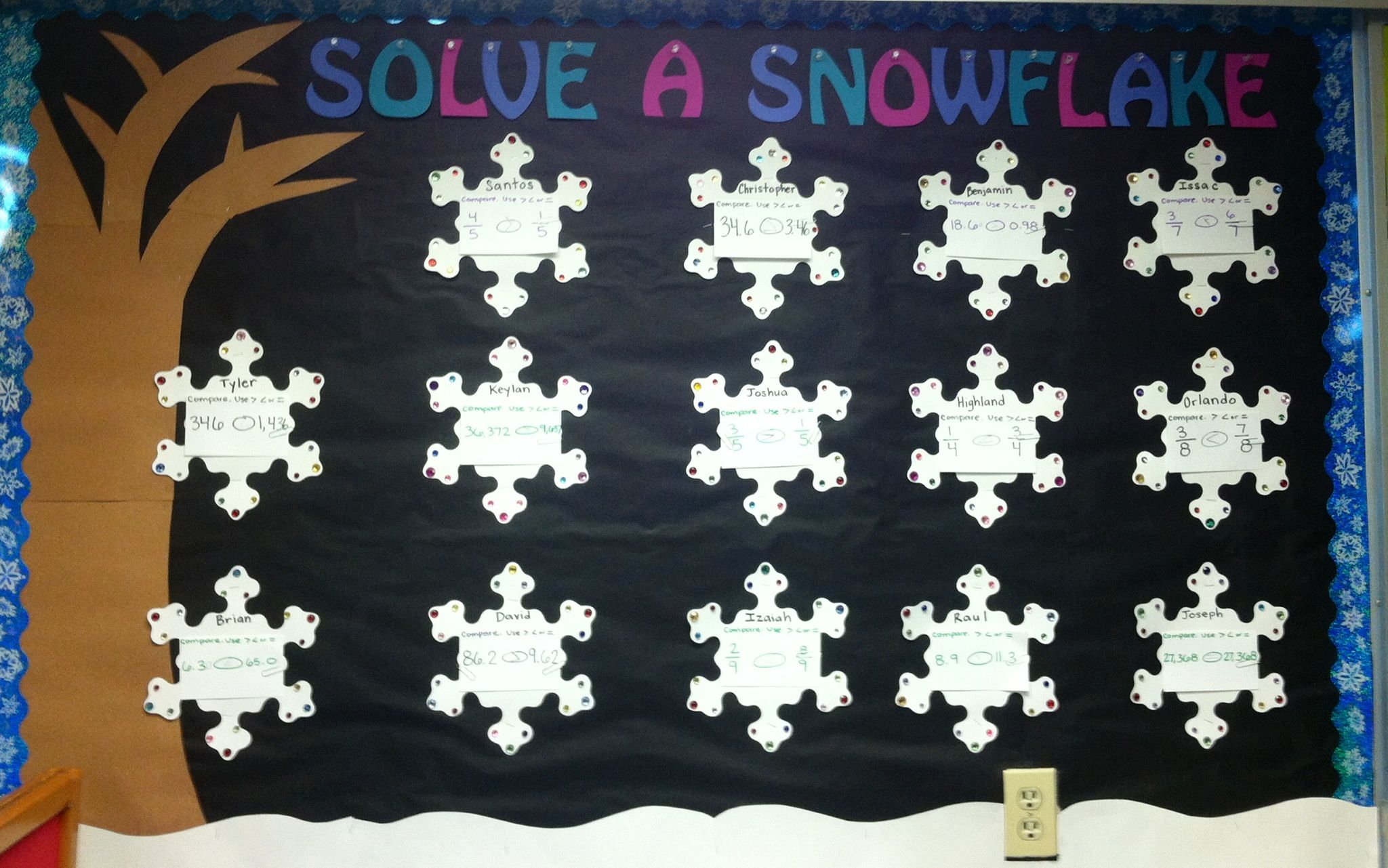 My Winter Math Bulletin Board Solve A Snowflake Every