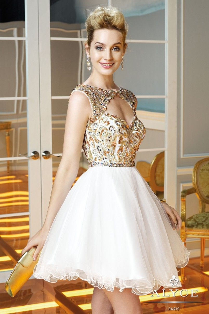 Alyce Paris Exceptional Beauty Gilded Sweet 16 Dress 3583 Gold ...
