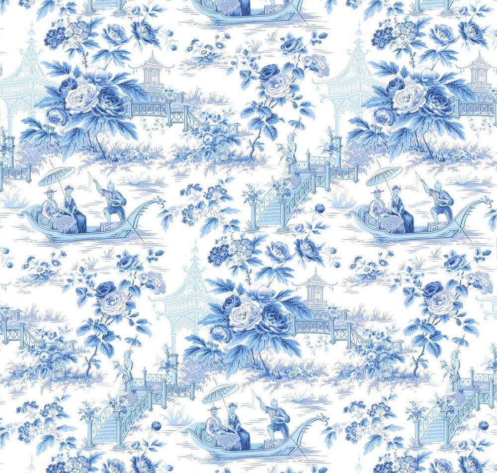 Asian Oriental Chinoiserie Toile Wallpaper Porcelain Blue