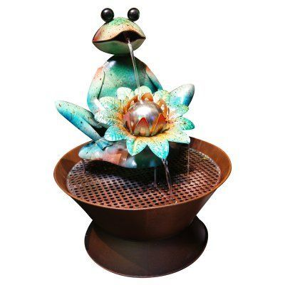 Alpine Frog Metal Outdoor Fountain - MAZ102